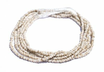 Vintage White Java Glass Heishi Beads 4mm Indonesia Large Hole 23 Inch Strand