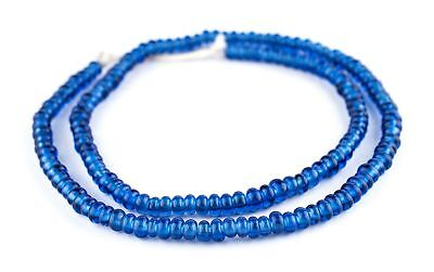 Translucent Blue Java Glass Donut Beads 6mm Indonesia Disk Large Hole