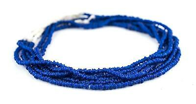 Cobalt Blue Java Glass Heishi Beads 4mm Indonesia Large Hole 23 Inch Strand
