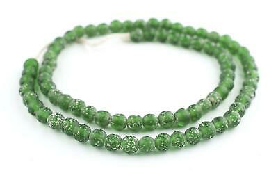 Green Ancient Style Java Glass Beads 9mm Indonesia Round Large Hole