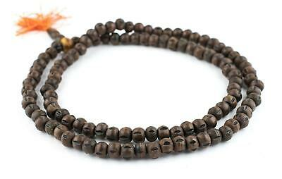 Carved Yak Horn Mala Beads 10mm Nepal Brown Round Large Hole 34 Inch Strand
