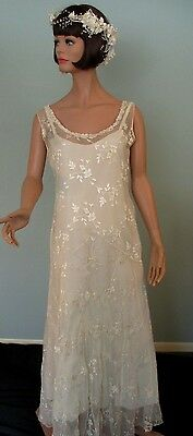 Vintage 1920s Dress Gown Ivory Embroidered Silk Chiffon Drop Waist Wedding Slip