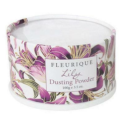 Fleurique Lily Dusting Powder with flocked puff, 100g, Australian made luxury