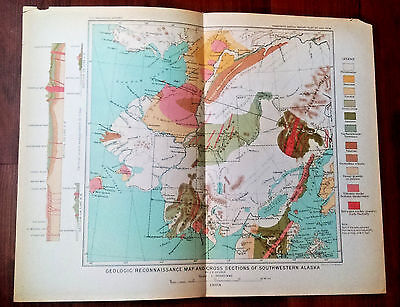 1898 Geologic Reconnaissance Map and Cross Sections SW Alaska by J.E. Spurr