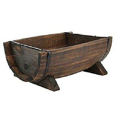 New Handmade Burntwood Half Barrel Floral Planter Wooden Garden Feature