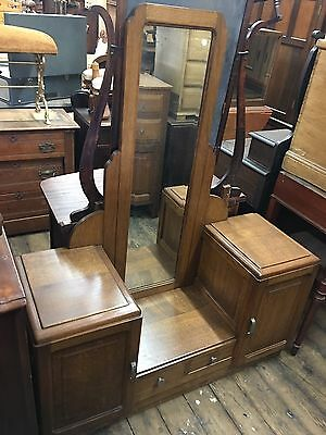 Unusual Antique French Deco Vanity Tiger Oak, Circa 1920's Nice Original