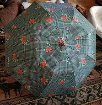 Vintage CHRISTIAN DIOR Green Check with Flowers Umbrella