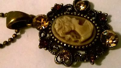 Vintage Cameo Necklace with Yellow Stones
