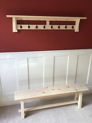 Hall Bench And  8 Hook Coat Rack