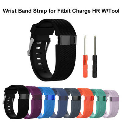 Silicone Replacement Wristband Band Strap Tool Kit for Fitbit Charge HR Large