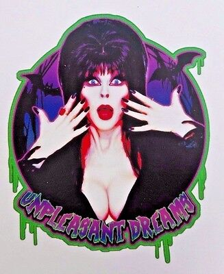 "Elvira Mistress Of The Dark Unpleasant Dreams Sticker T.V. Horror Queen 2.6"" x 3"