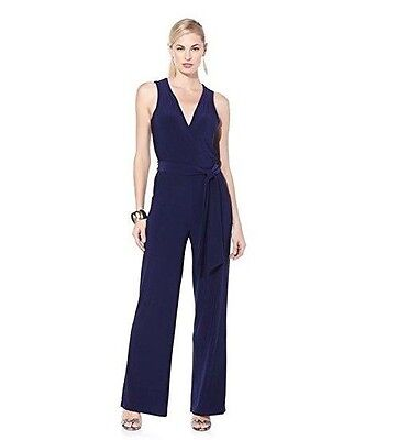 f89d247c5ff NIKKI POULOS Womens Belted Loose Leg Sleeveless Jumpsuit NAVY Plus 2X Petite