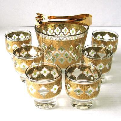 Vintage Culver Ice Bucket Tongs 6 Lowball Glasses Gold Overlay Valencia Barware