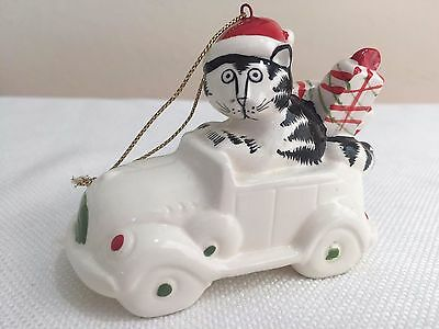 1981 B. Kliban Cat Ceramic Cat In Car Christmas Ornament