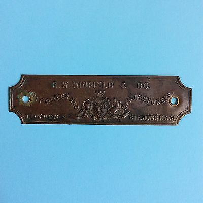 ANTIQUE BRASS NAME PLAQUE R.W. WINFIELD & Co Manufacturers London Birmingham