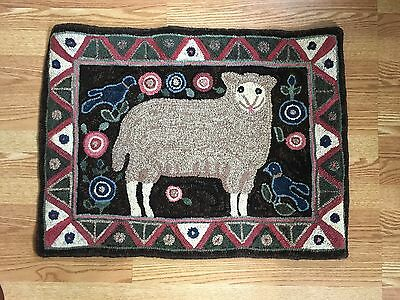 """Wool Hand Hooked Rug - """"Mary's Lamb"""" (32"""" W x 24"""" L)"""
