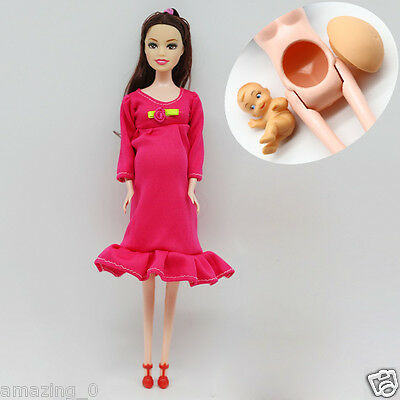 Brown Hair Real Pregnant Mom Doll Baby Her Tummy Barbie Dolls Girls Toys / 1 PCS