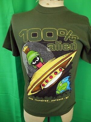 Vintage 1990s Khaki Green Cotton Official Looney Tunes Marvin Martian T-shirt XS