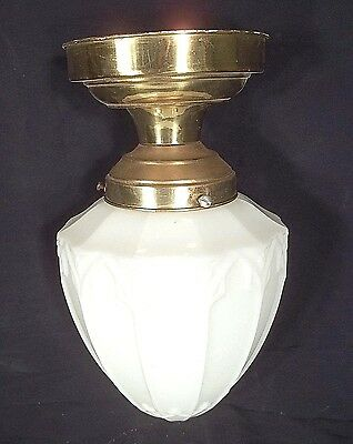 ANTIQUE EARLY 20th CENTURY MILK GLASS ACORN CEILING LIGHT WITH BRASS CANOPY