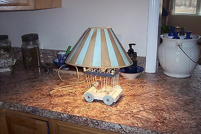Vtg  60's Baby Boy's Nursery Lamp Wood Lion in Circus Cage w/Mouse