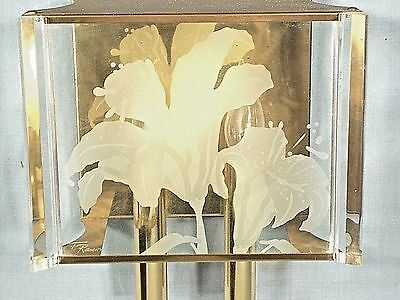 Mid Century Modern Fredrick Ramond Brass And Etched Glass Twin Light Sconce