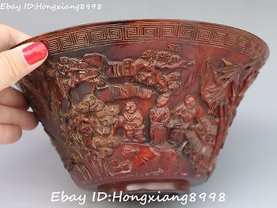 """7"""" Chinese Ox Horn Oxhorn Carving People Man Belle Pine Tree Bowl Bowls Statue"""