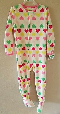 Child of Mine by Carter's Girl's Fleece Footed Pajamas,Hearts NWT