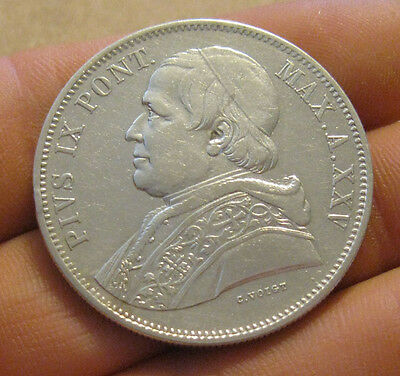 Papal States (Italy) - 1870 Large Silver 5 Lire