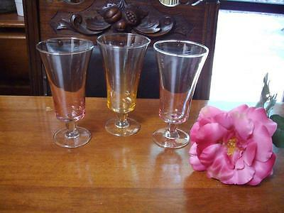 4 Champagne Wine Glasses 15Cms Yellow Pink Blue - Excellent Condition