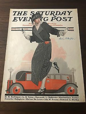 1922 Saturday Evening Post September 23 Flapper Taxi Coles Phillips COVER Only