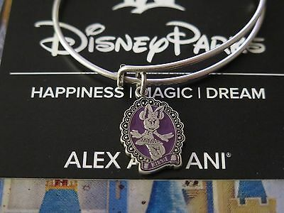 Disney Parks Alex and Ani Minnie Halloween Cameo Bangle Silver Bracelet Purple