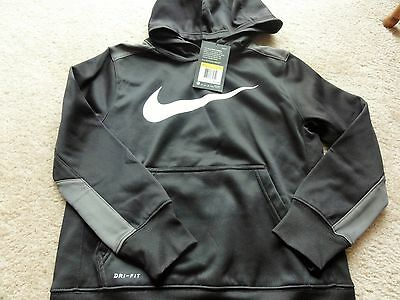 NEW NIKE THERMA-FIT Boys Black Grey Sweatshirt Hoodie Size S 8 SM Small Youth