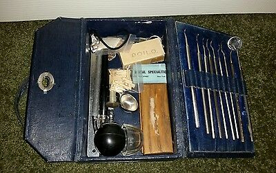 Antique Travel Dentist Doctors Kit w/ Carrying Case & Contents Tools - Vintage D