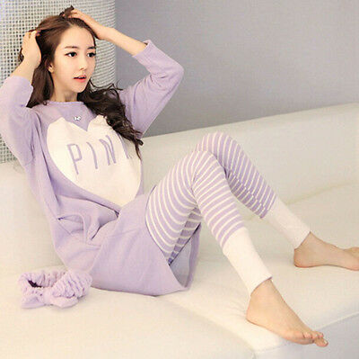 Womens Cartoon Sleepwear Pajamas Set Ladies Long Sleeve Cotton Cute Nightgown