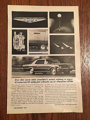 Vintage 1964 Pontiac GTO General Electric Advertisement Popular Mechanics 1963