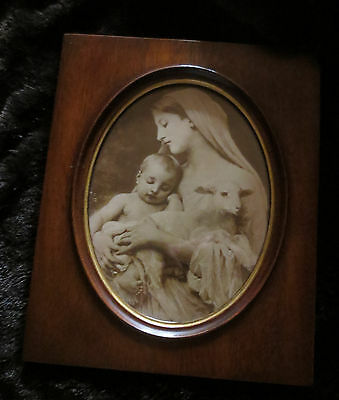Antique Madonna And Child And Lamb Underglass In Mahogany Frame