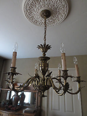 Antique Bronze French Rococo Louis Xv Style Chandelier -6 Light