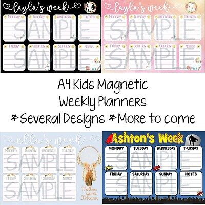 A4 PERSONALISED Kids / Childrens Weekly Magnetic Planner - Erasable whiteboard
