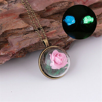 Retro Glow in the Dark Flower Glass Wishing Round Luminous Necklace Pendant
