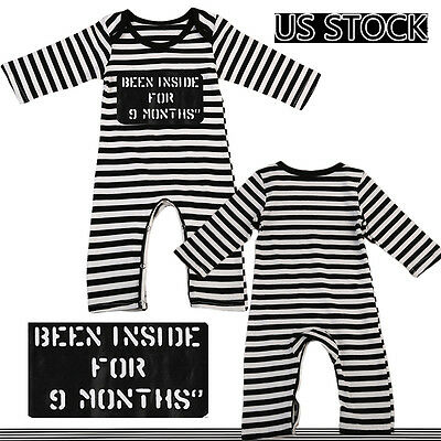 US Stock Newborn Infant Baby Girls Boy Bodysuit Romper Jumpsuit Clothes Outfits