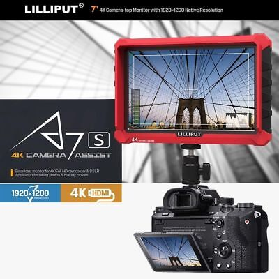 """LILLIPUT 7""""  Model  A7s 4K HDMI 1.4 30Hz Field Monitor with LP-E6 battery Plate"""