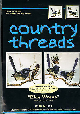""""""" BLUE WRENS  """"  Cross Stitch Kit,  Country  Threads"""