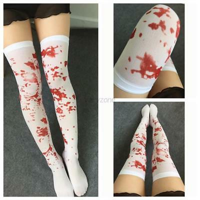Woman Girl Halloween White Bloody Blood Stained Over Knee Stocking Socks Zombie