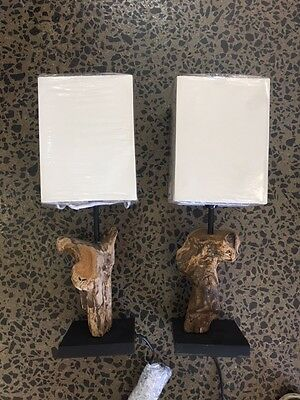 New Pair Of Domus Driftwood Bedside Lamps Table Natural Timber Base Beige Shade