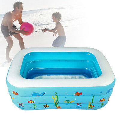 1.3m Inflatable Pool Baby Square Toddler Kid Play Box Swimming Water Bath Tub US
