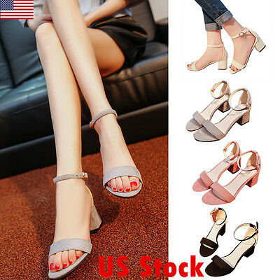 US Shoes Women Sandals Summer Open Toe Ankle Strap Party Thick Middle High Heels