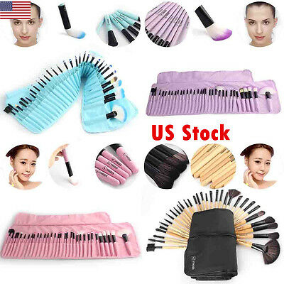 US 32Pcs Professional Make Up Brush Set Foundation Brush Kabuki Makeup Brushes