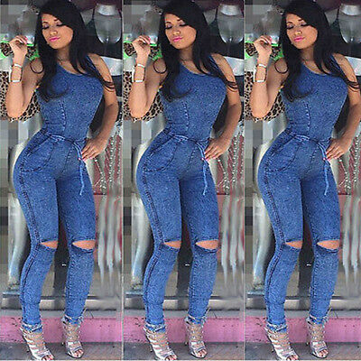Summer Women Ladies Jeans Playsuit Bodycon Party Jumpsuit Romper Trousers New