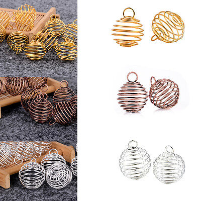 10X Spiral Bead Cages Pendants Findings For Bola ball Diffuser 25x20mm DIY