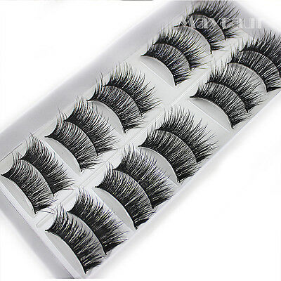 Cheap Natural 10 Pairs 100% Real Mink Hair Thick False Eyelashes Strip Lashes